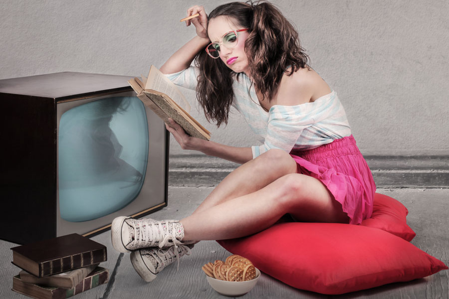 Girl-With-Old-Television